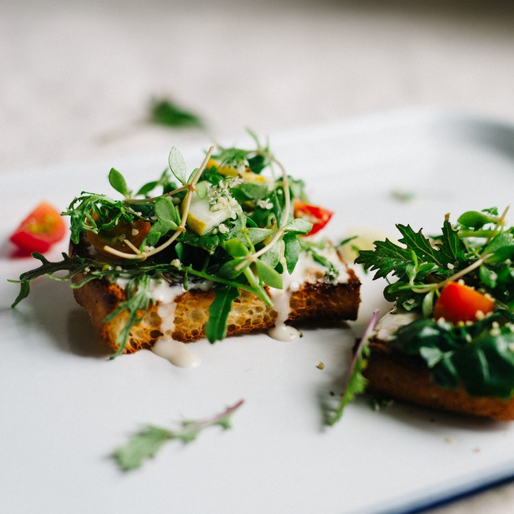 cilantro-hemp salad on tahini yogurt toast