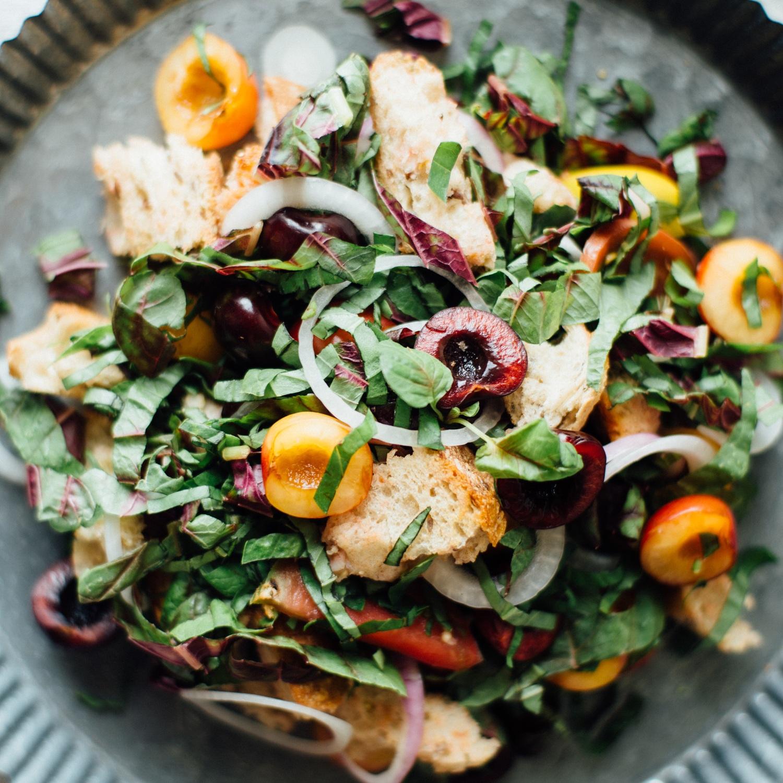 cherry panzanella salad
