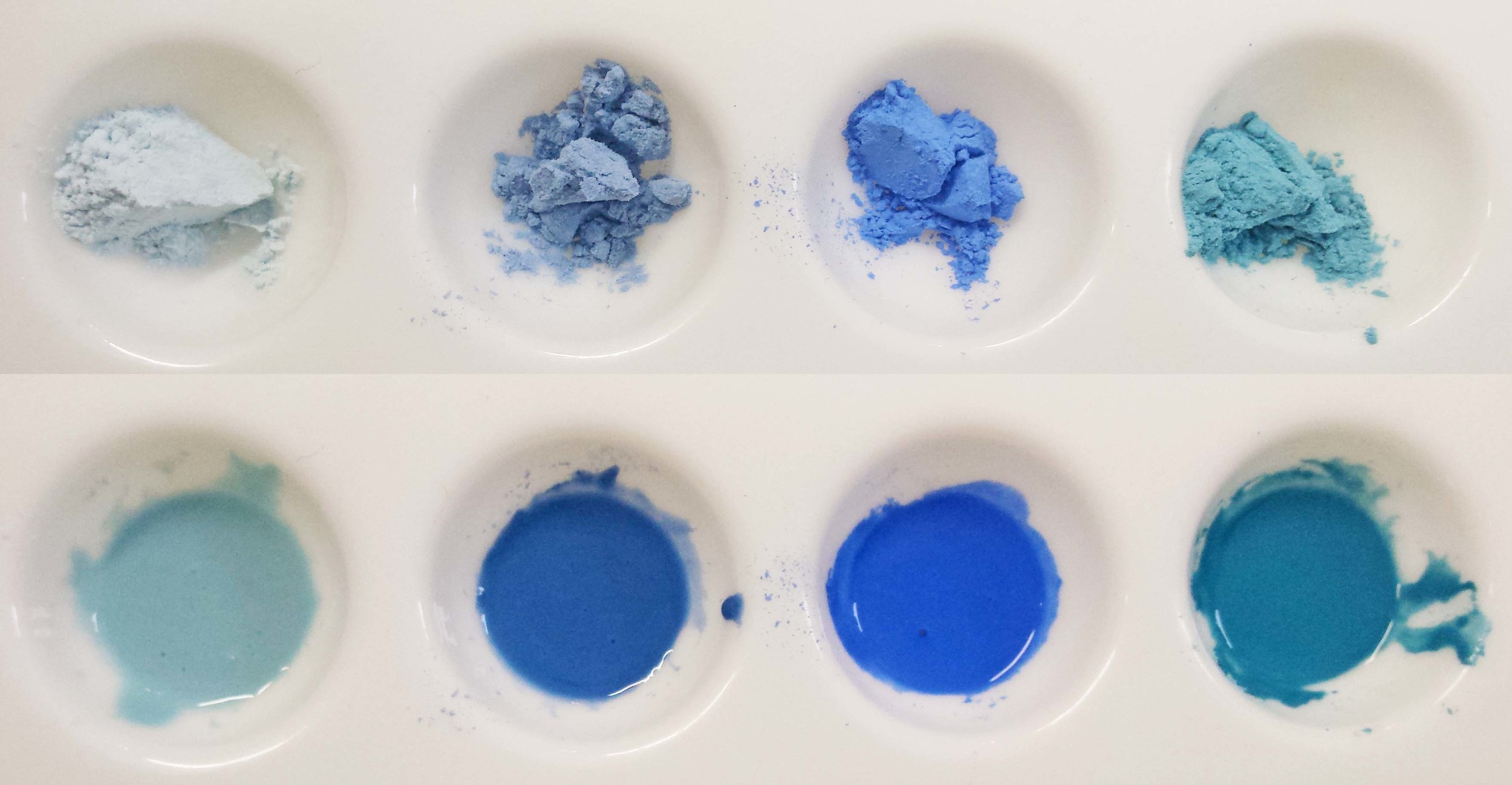 Dry enamel pigments and prepared pigments with a liquid medium.