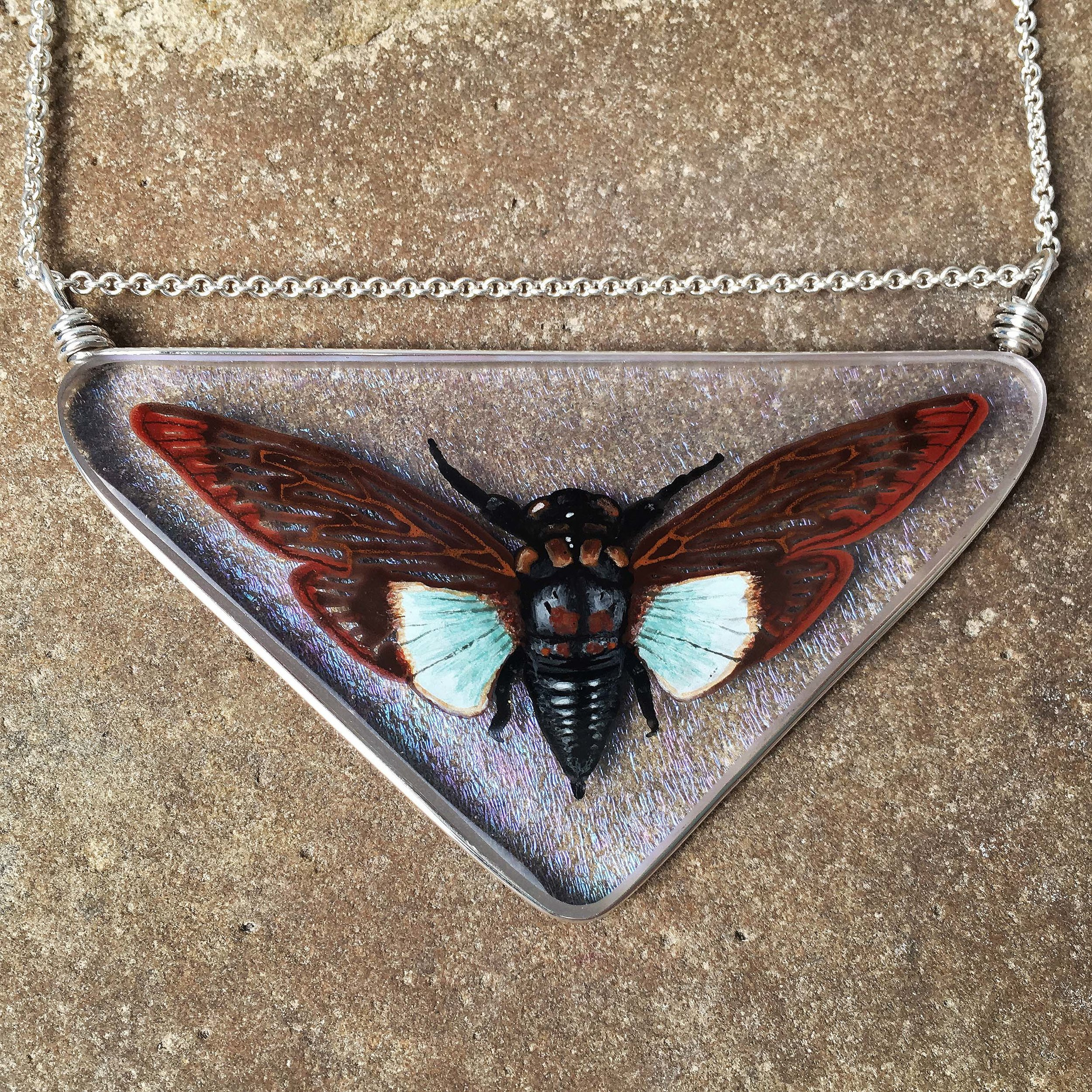 The completed Blue Winged Cicada Necklace.