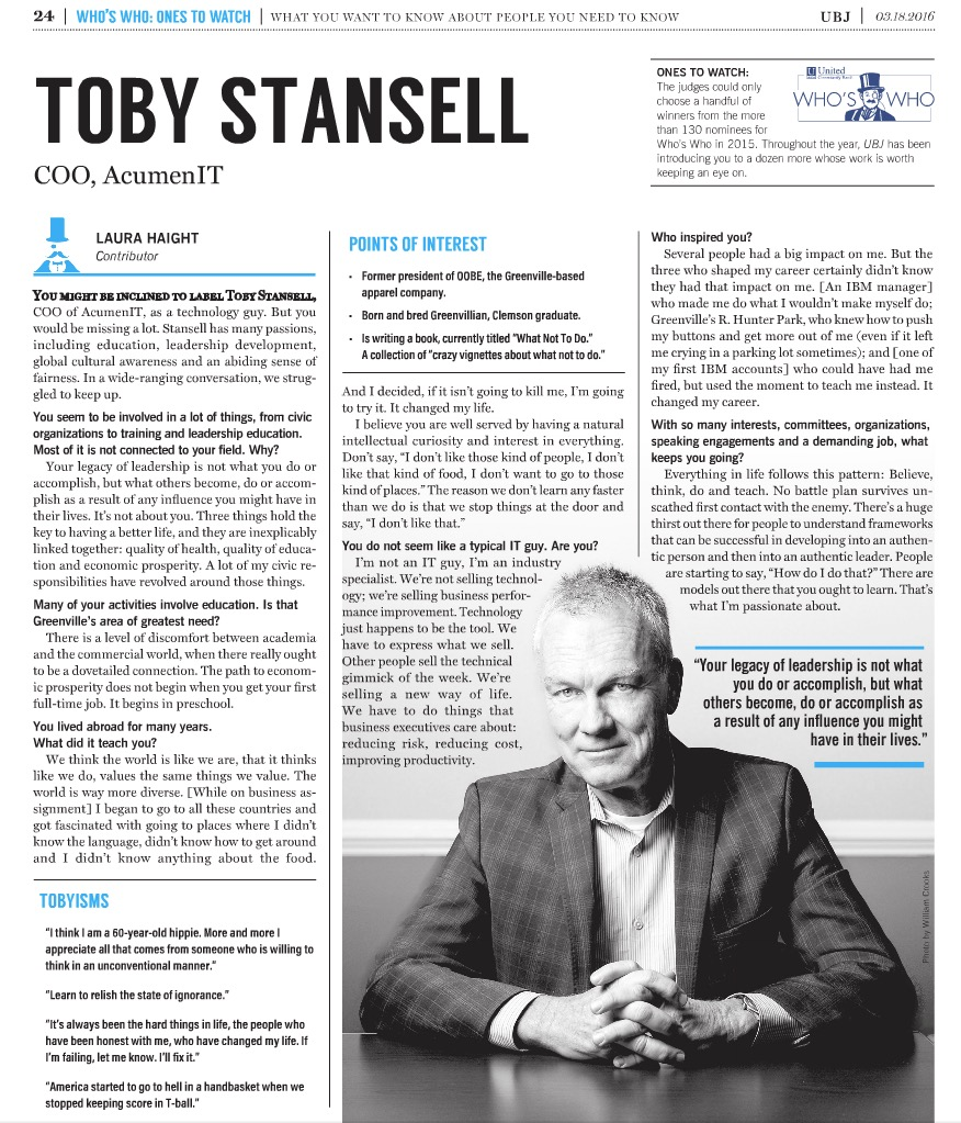 One to Watch: Toby Stansell