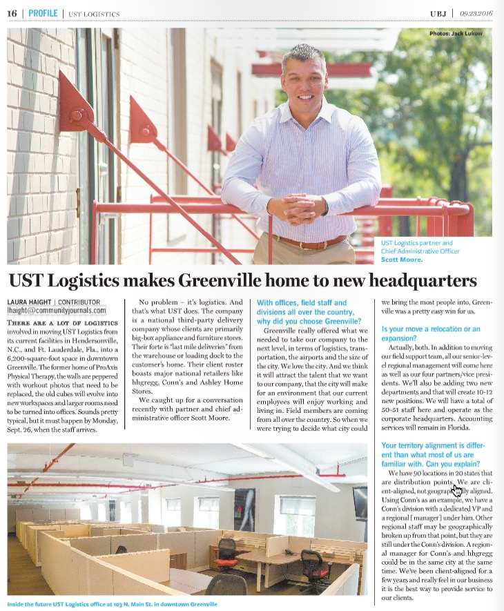 UST Logistics moves HQ to Greenville, SC