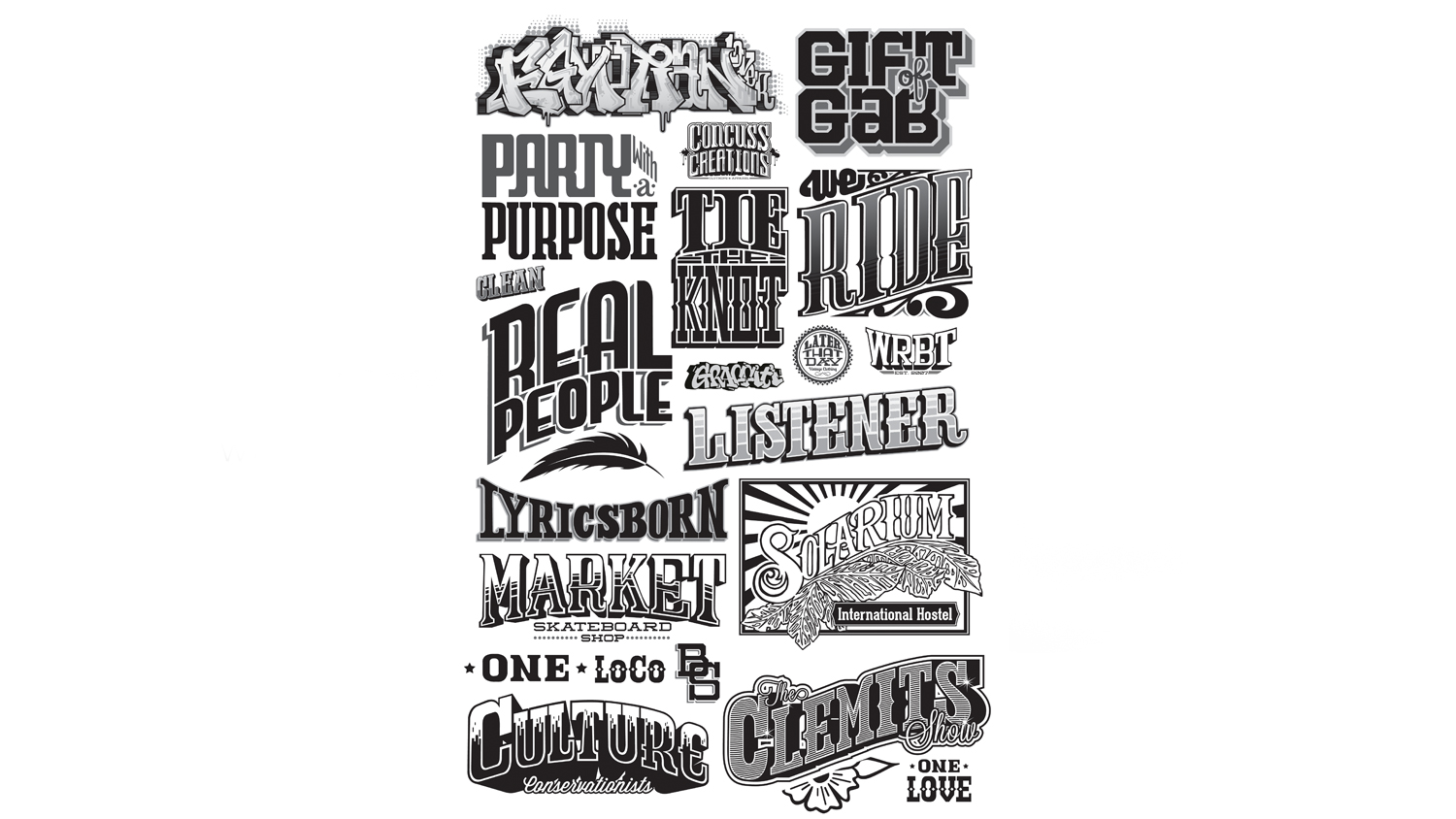 These are various samples of different custom, hand-drawn lettering we've created for a variety of clients. Custom lettering can give your project an unexpected vintage touch that would otherwise be hard to come by.