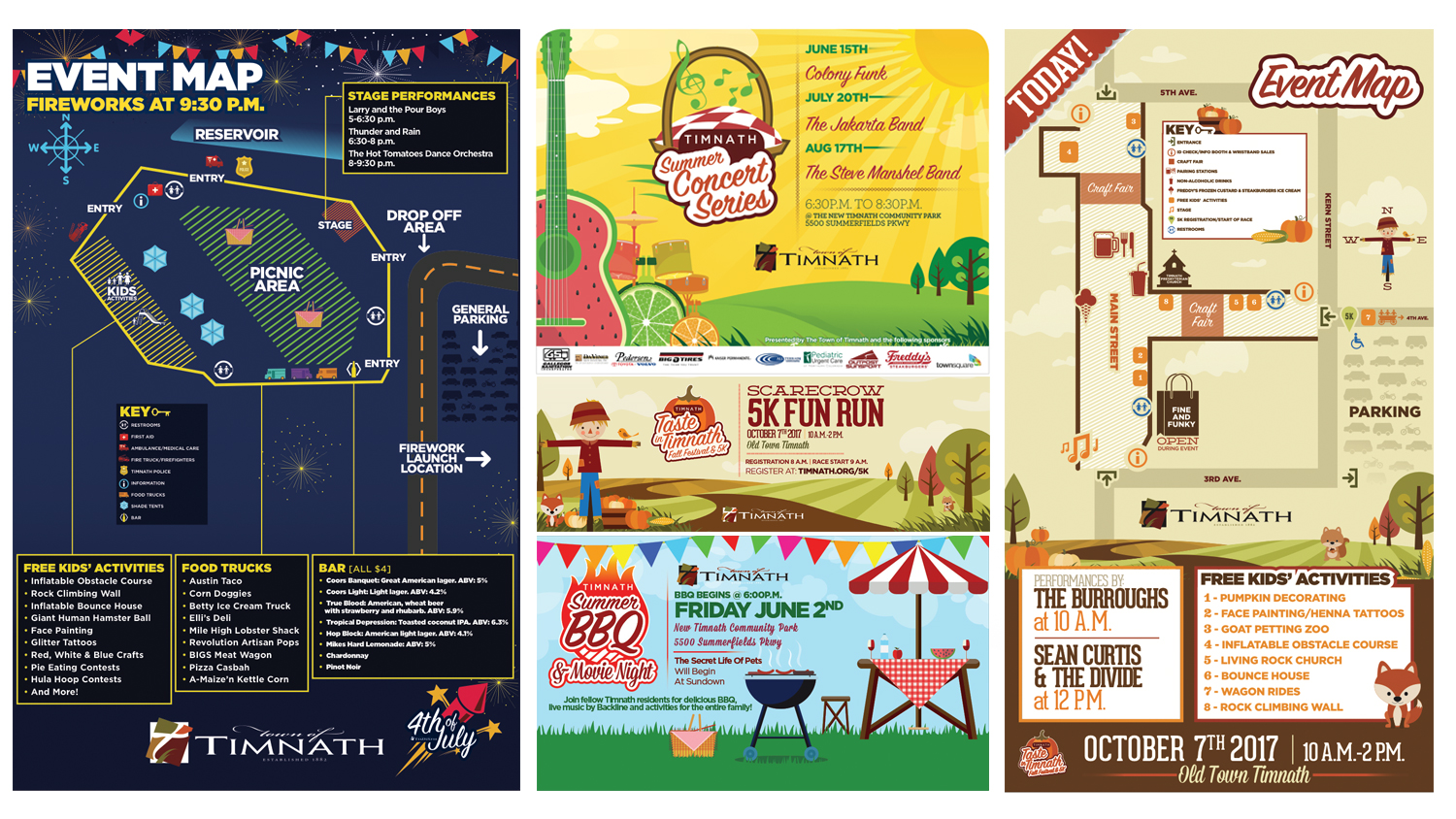 During the 2017 event season we worked in partnership with a local marketing firm to develop and execute all of the promotional materials for the town of Timnath in northern Colorado. We designed all the advertising and promotional materials, signage/wayfinding, menus and maps for all of the events. Keeping in mind a consistent brand aesthetic that was fun and family friendly. Note: the event logos were provided to us and not designed by Smart Minds.