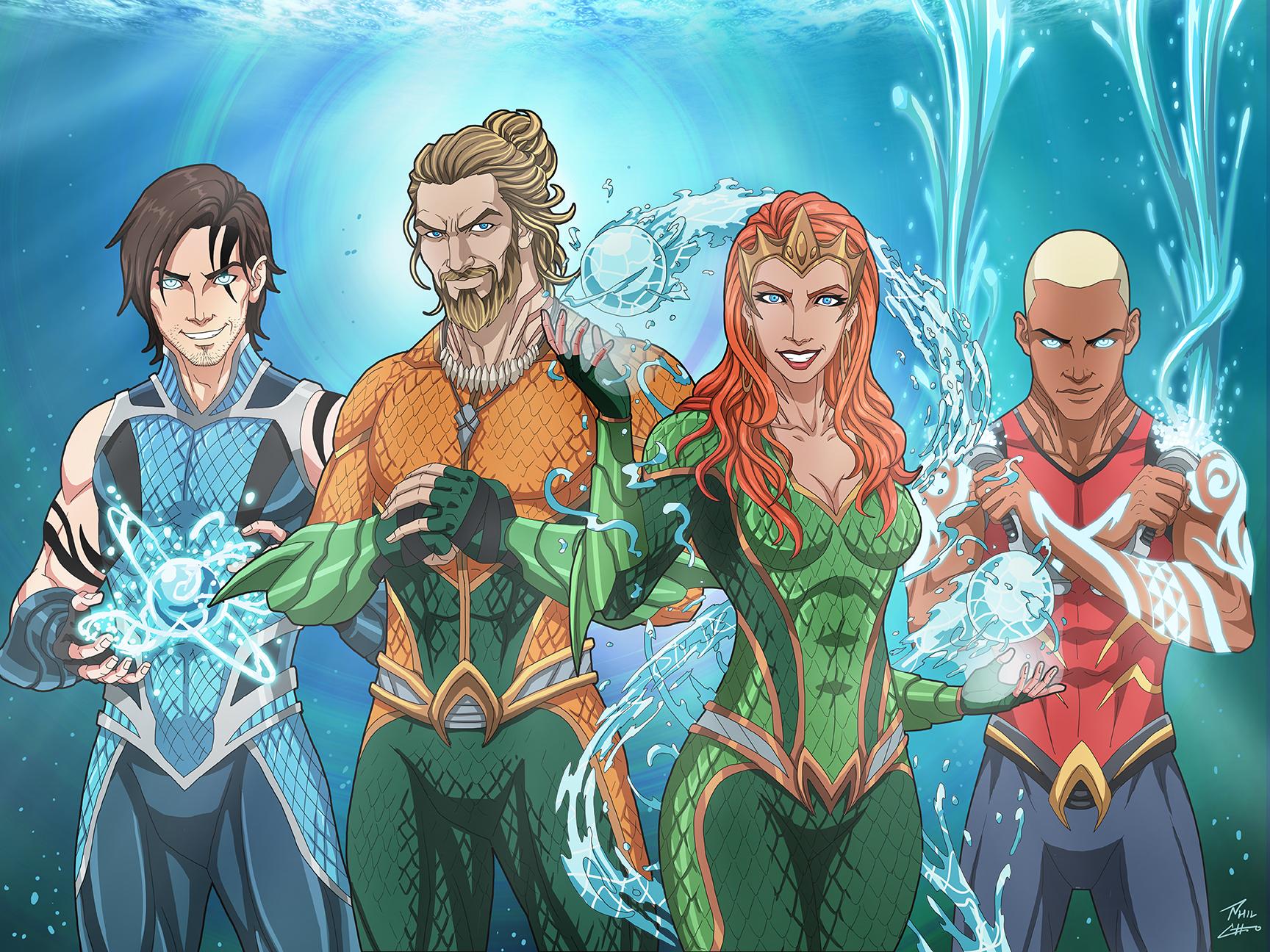 Tempest, Aquaman, Mera, Aqualad