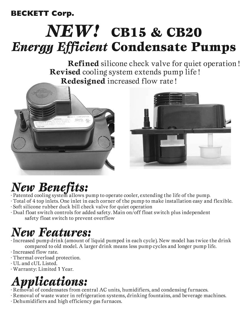 Energy Efficient Condensate Pumps....      Check Out the Features & Benefits: