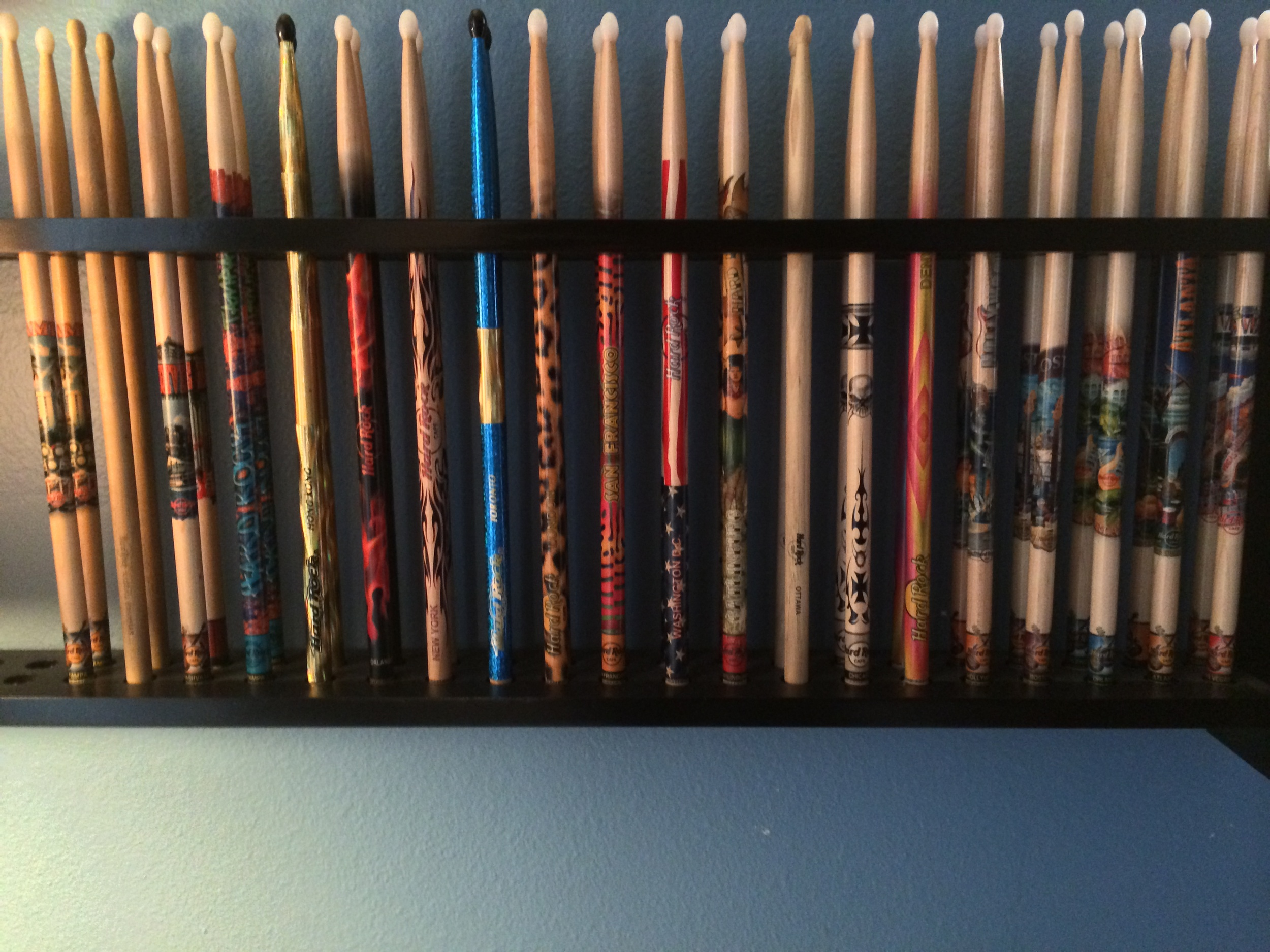 20 pairs of HRC sticks in a home-made display case.