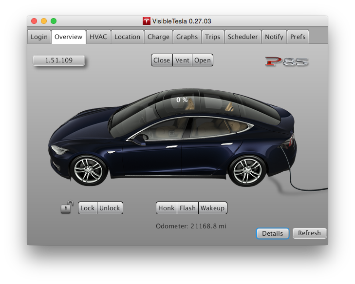 Visible Tesla Overview Page