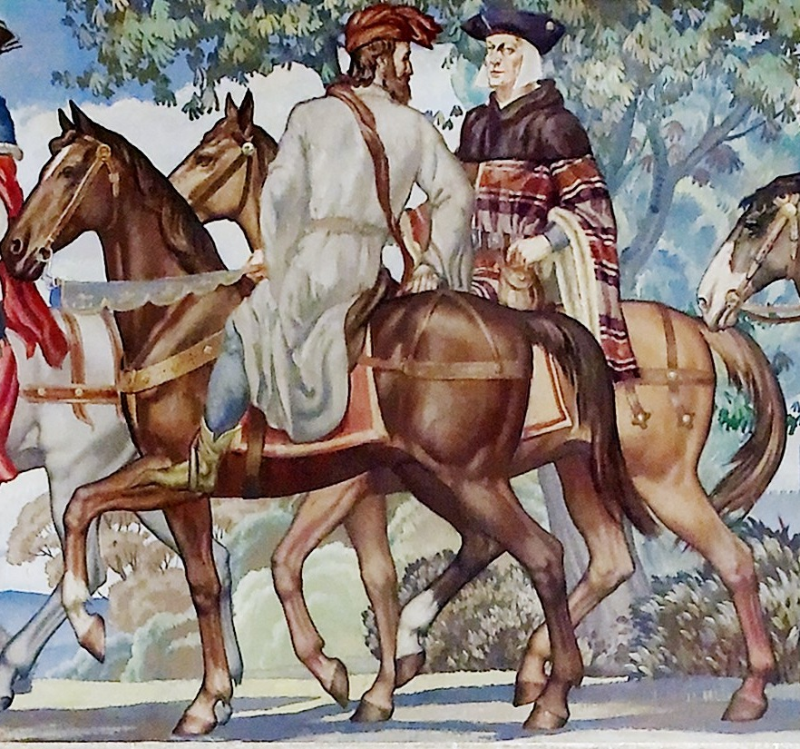 Chaucer and the Man of Law, depicted by Ezra Winter in a Library of Congress mural.