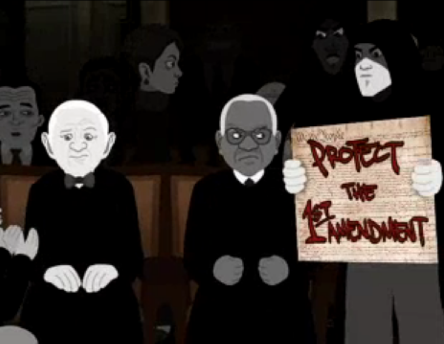"Eminem supporters storm the State of the Union address and beg onlooking Supreme Court justices to ""Protect the 1st Amendment."" (Screenshots from Eminem, "" The Mosh Continues "" (2004).)"
