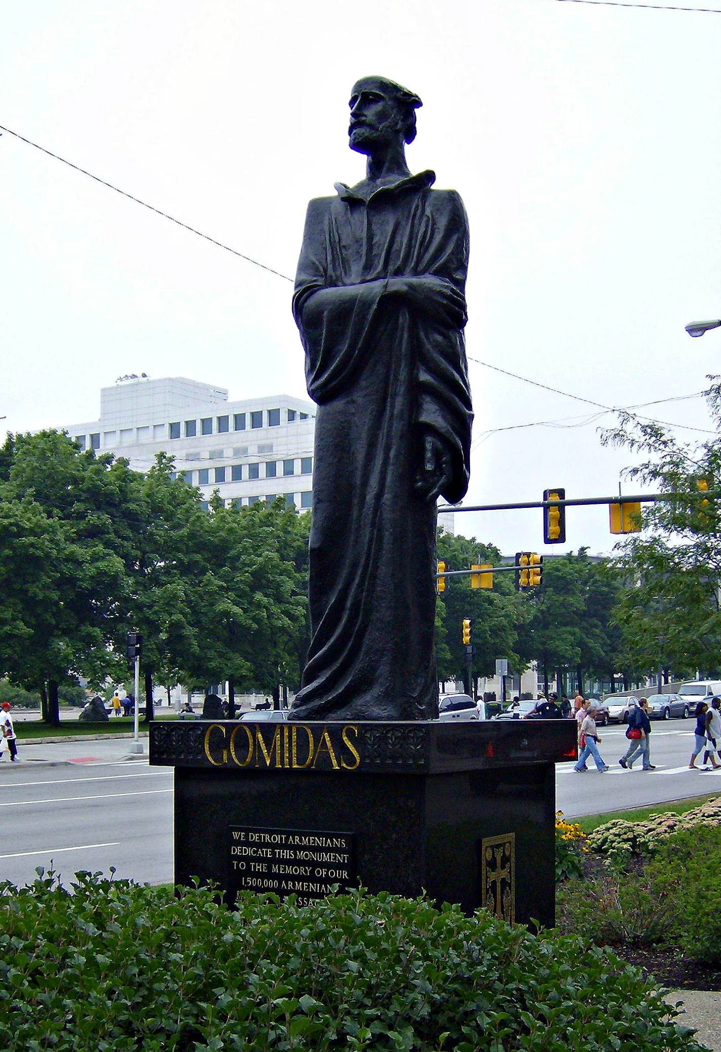 A statue in Detroit, Michigan, erected in memory of Gomidas Vartabas and the victims of the Armenian Genocide, via  Wikipedia .
