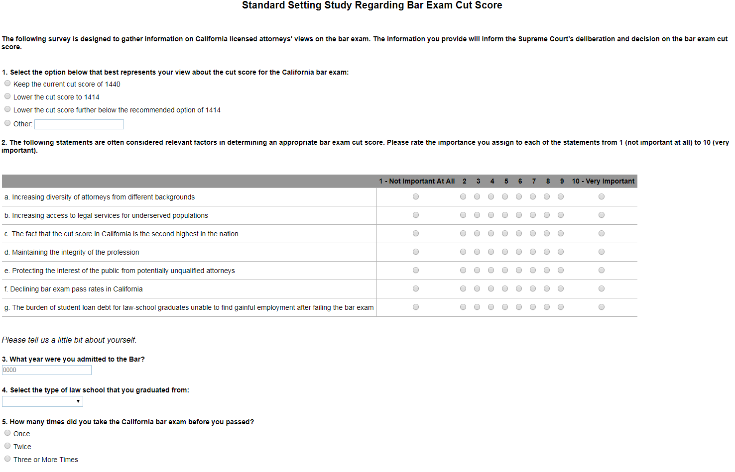 A Poor Attorney Survey From The California State Bar On Proposals To Change The Bar Exam Cut Score Excess Of Democracy