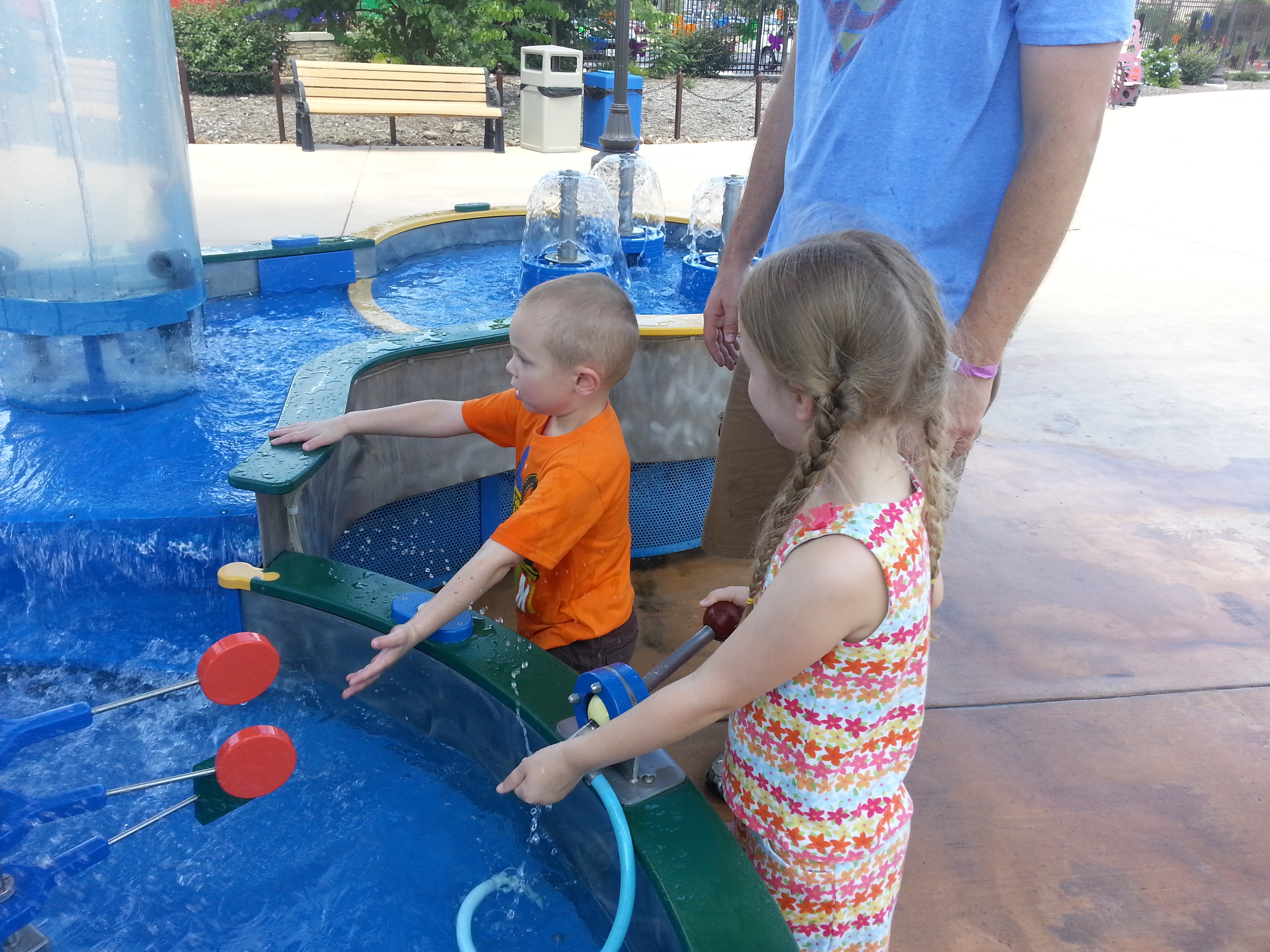 """Water Works"" sensory table. Anyone who came near Ezra walked away wet! ....and he may or may not have climbed onto the table to stand in the water...opps!"