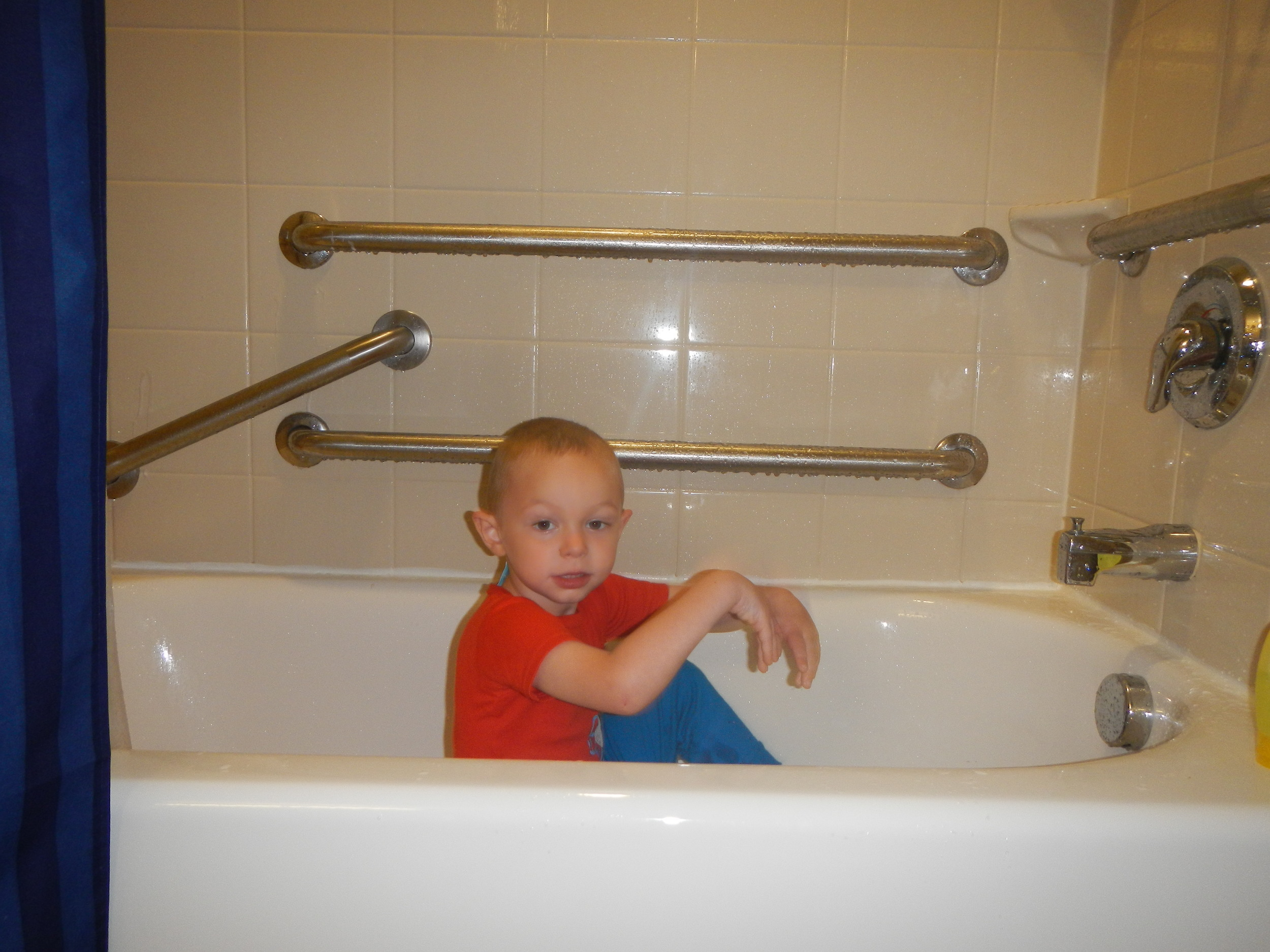 "Of course, Ezra will always find a bathtub to sit in (even in our hotel room)! The bathtub is often times where Ezra goes to calm himself down. It is his ""happy place."""