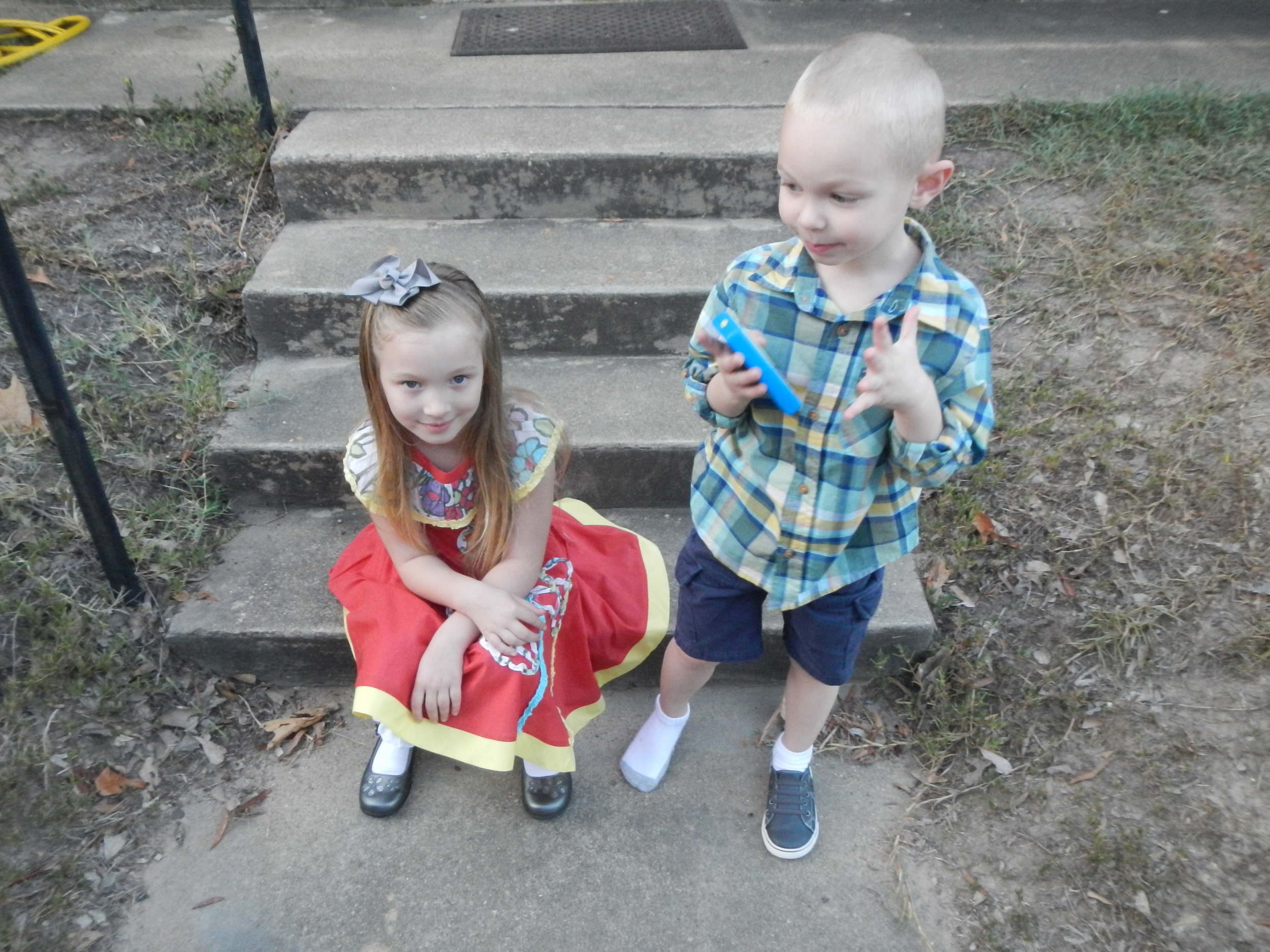 Oh dear, Ezra has already lost a shoe!  Now Grace is giving me the Mom-has-taken-a-bazillion-pictures-already look.