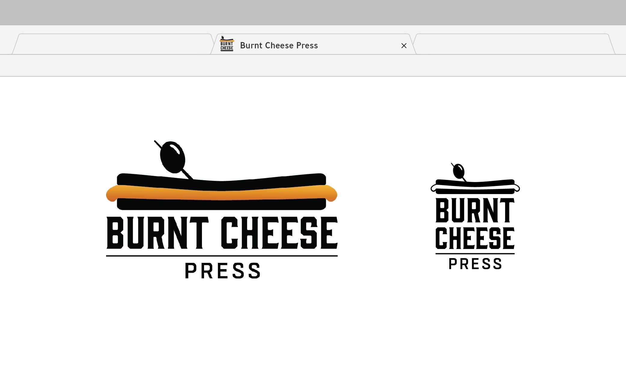 Burnt Cheese Press  PROJECT: This logo was designed for an independent publishing house focussing on cookbooks. The sandwich image is representative of the owner's first published cookbook,  The Ultimate Panini Press Cookbook,  as well as the direction she wanted to take the press: easy recipes for busy families. The logo-lockup is flexible in shape and color for a variety of uses including book spines and back covers, websites, and social media.