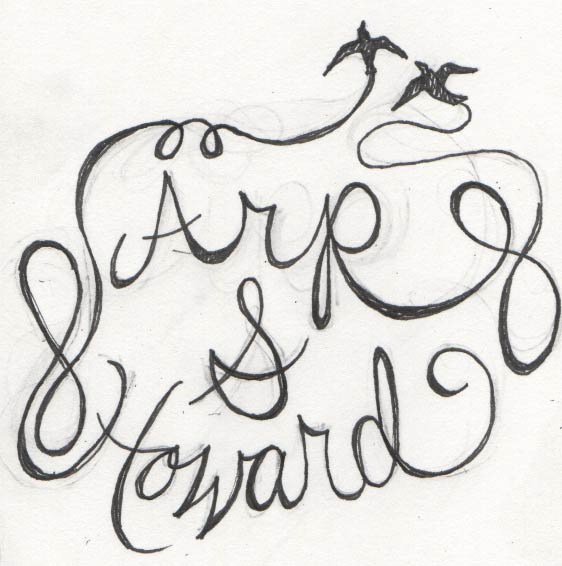 This was the first of several sketches on paper. The original copy included the option of a plus sign or an ampersand.