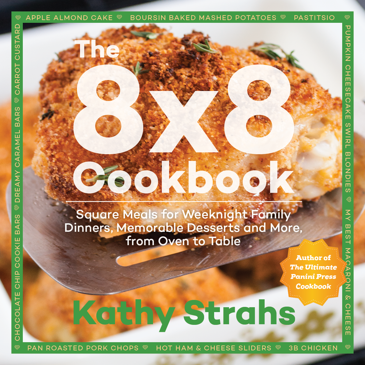 "This book cover was similar in style to the author's previous cookbook, but didn't convey the idea of the 8x8 pan as well as the chosen layout (seen in ""books"" section of website)."