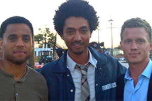 SCP on the set of  COMMON LAW  with Michael Ealy & Warren Kole