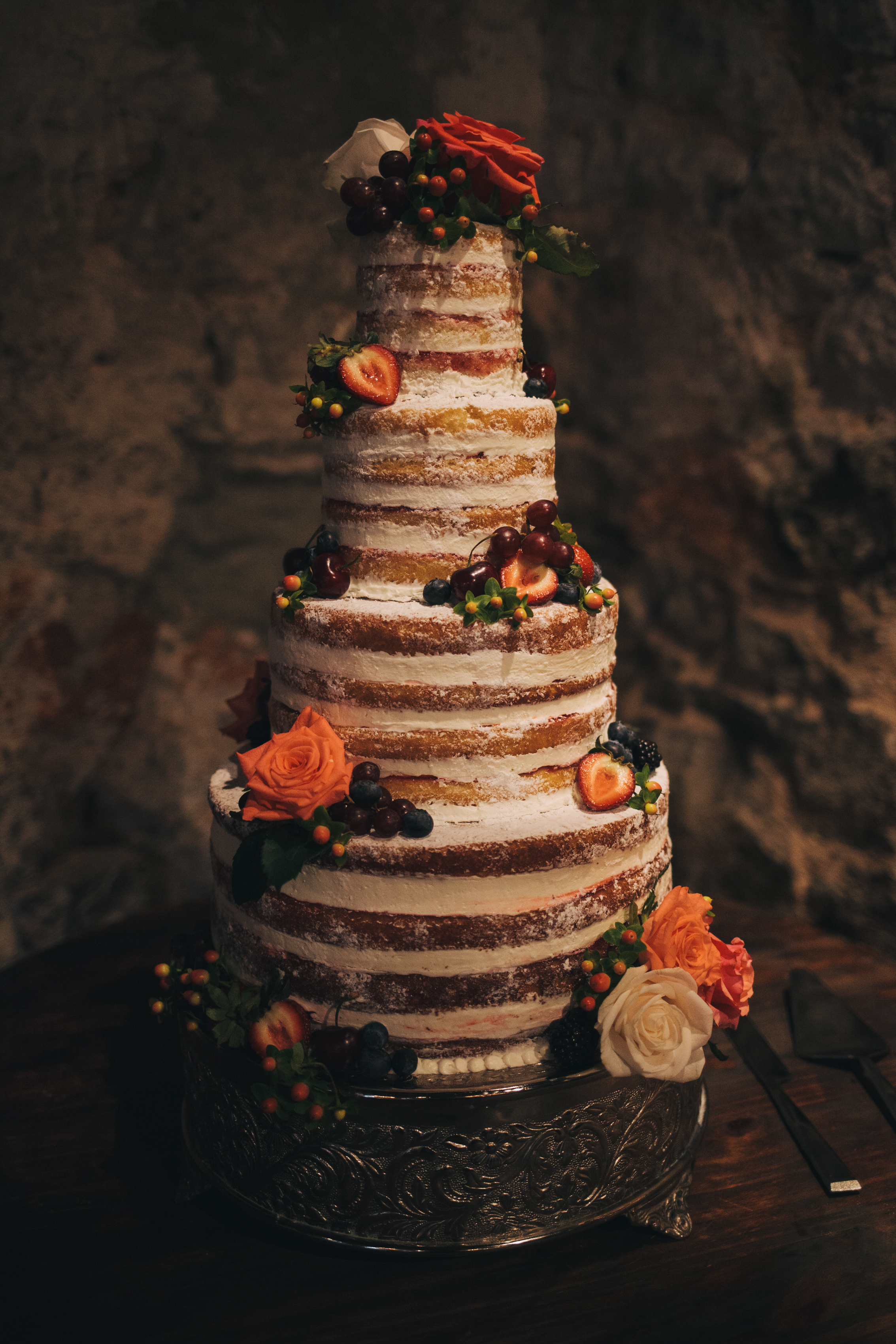 "Josiah-Michael Photography....""Rustic naked cake with fresh fruit and flowers"""