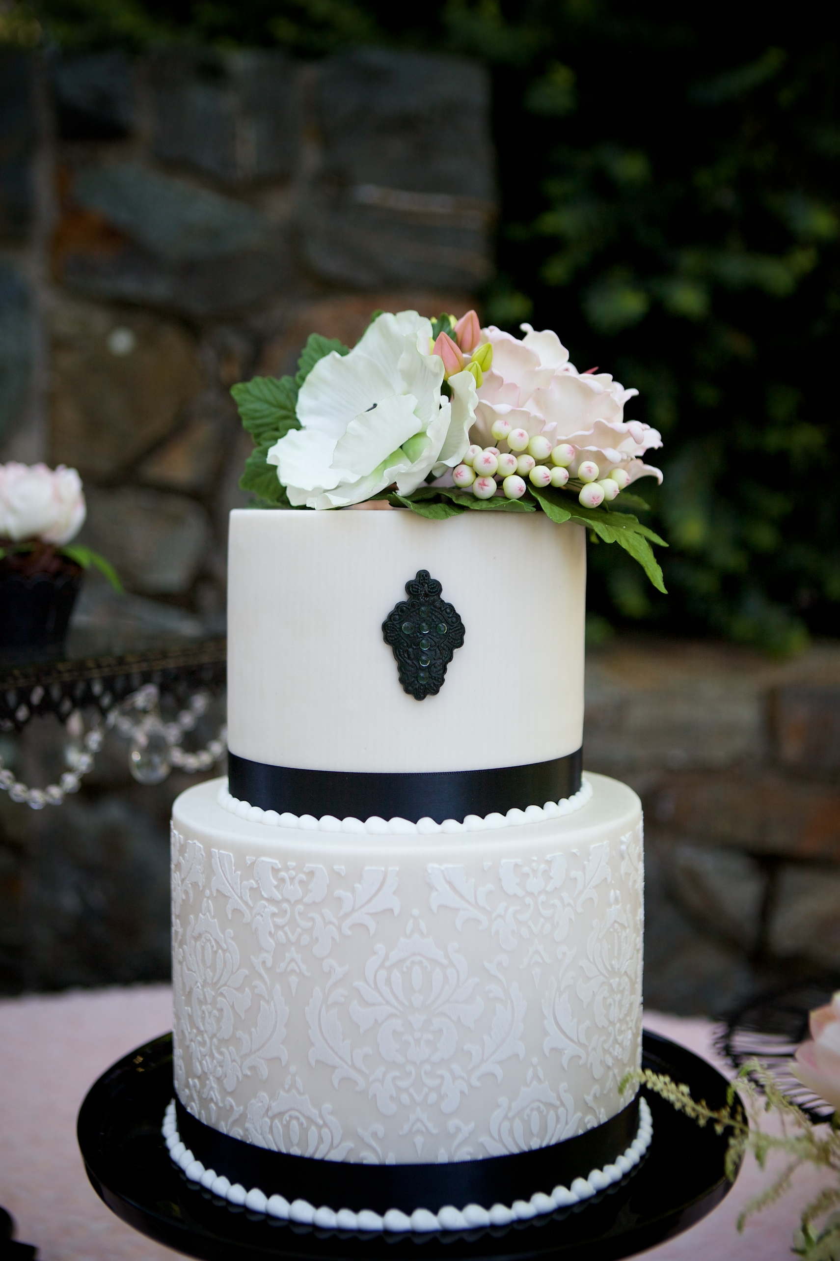 "Randy Jackson Photography...""Damask baby christening cake"""