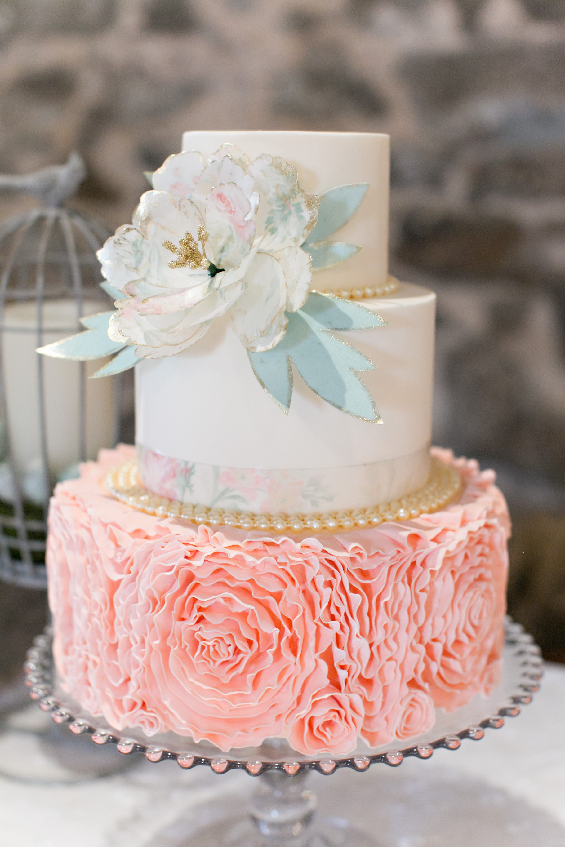 "Lydia Photography....""Peach fondant rose ruffle cake, with a printed edible wafer paper peony"""