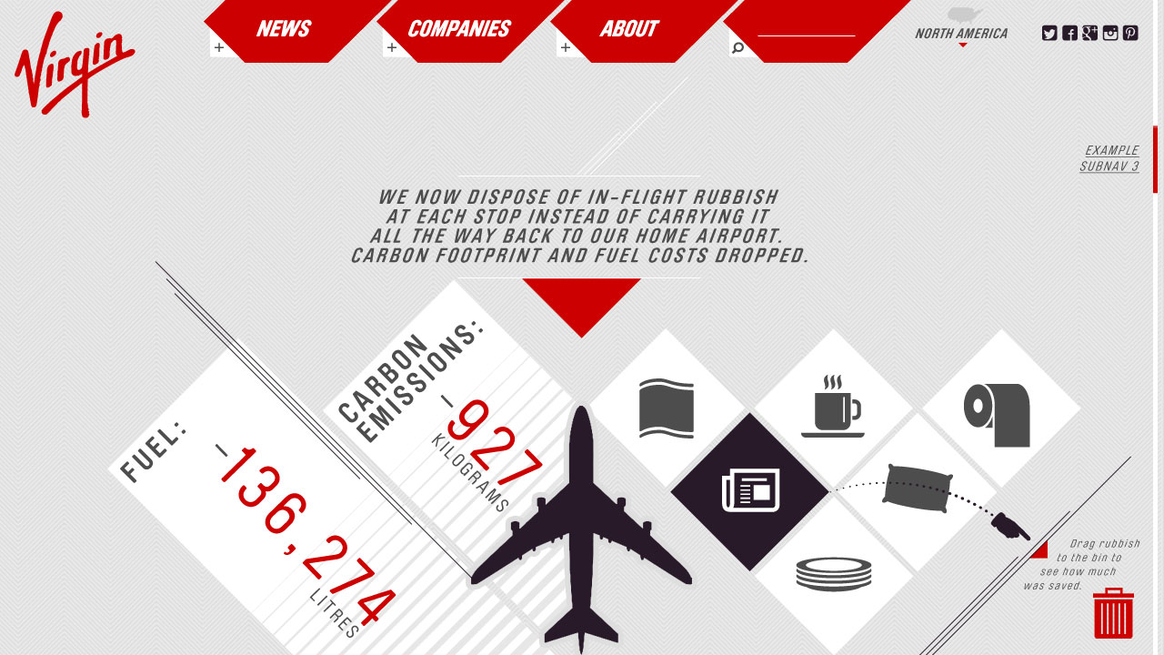 Virgin // Cross Brand Site Concept // Airlines