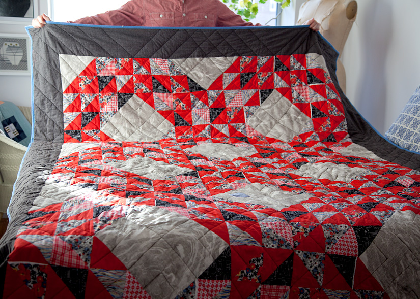 Crimson Waves , machine pieced and quilted. 2012