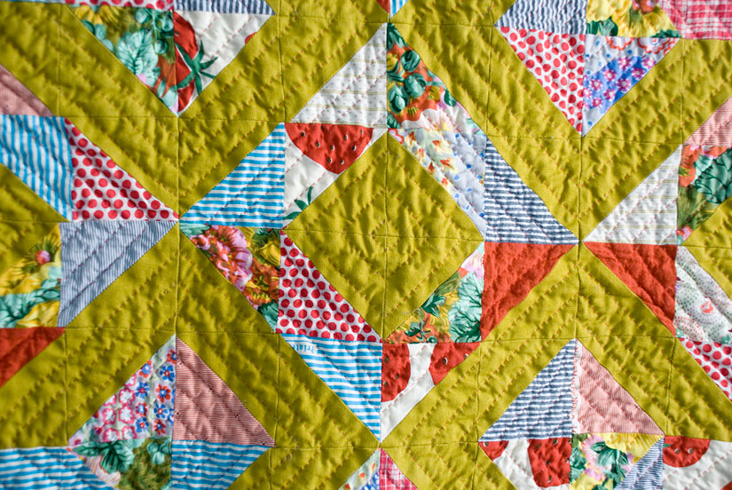 Lattice Quilt (detail), machine pieced and hand quilted. 2010