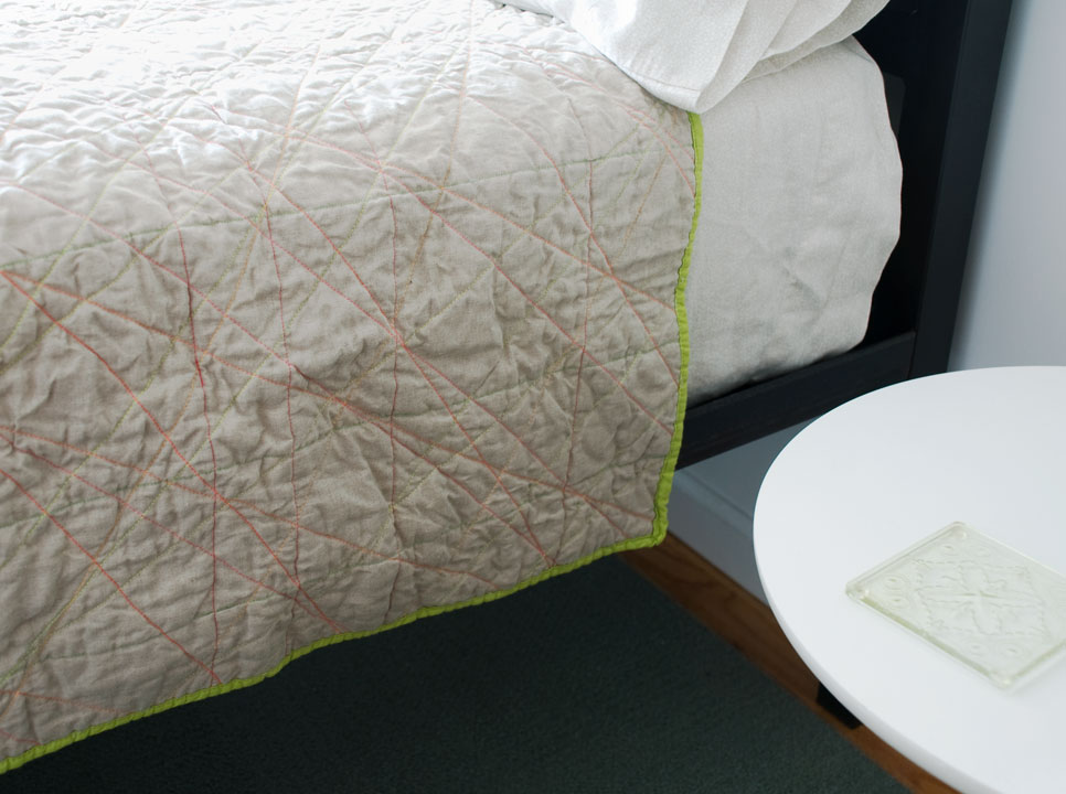 Linen and Dayglo  (detail), whole cloth machine quilted. 2011   Buy