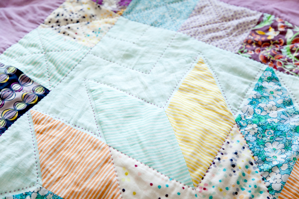 Stripes and Dots  (detail), machine pieced and hand quilted. 2013