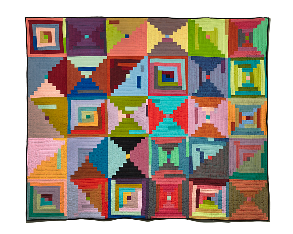 Steps , machine pieced and hand quilted. 2014 photography by  Marko Metzinger  .
