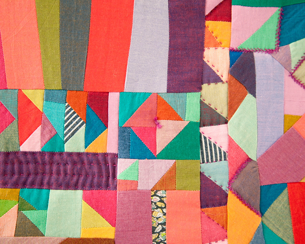 Scraps V.7  (detail) , machine pieced and hand quilted quilted. 2014