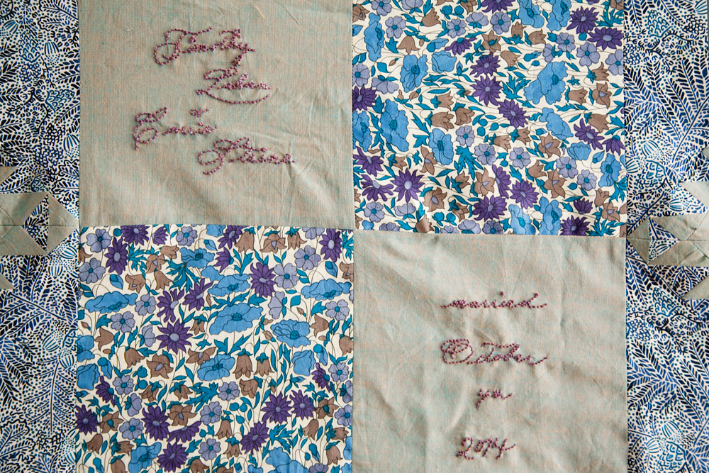 Wedding Signature Quilt (in progress October 2014),machine pieced and hand embroidered.