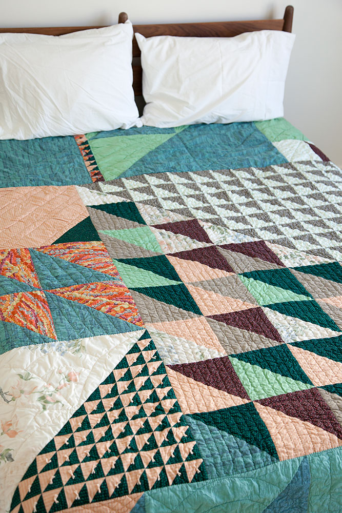 Carey's Custom Quilt , machine pieced and hand quilted with grandmother's bed linens. 2018