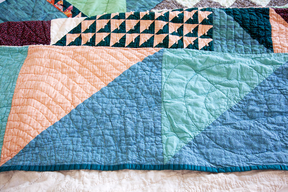 Carey's Custom Quilt (detail) , machine pieced and hand quilted with grandmother's bed linens. 2018