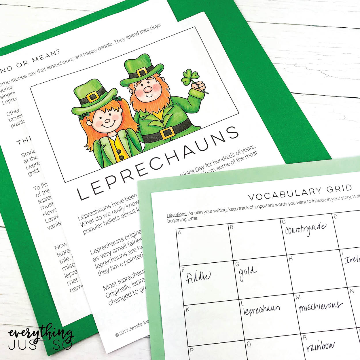 Leprechaun Writing Mini Uni | everythingjustso.org
