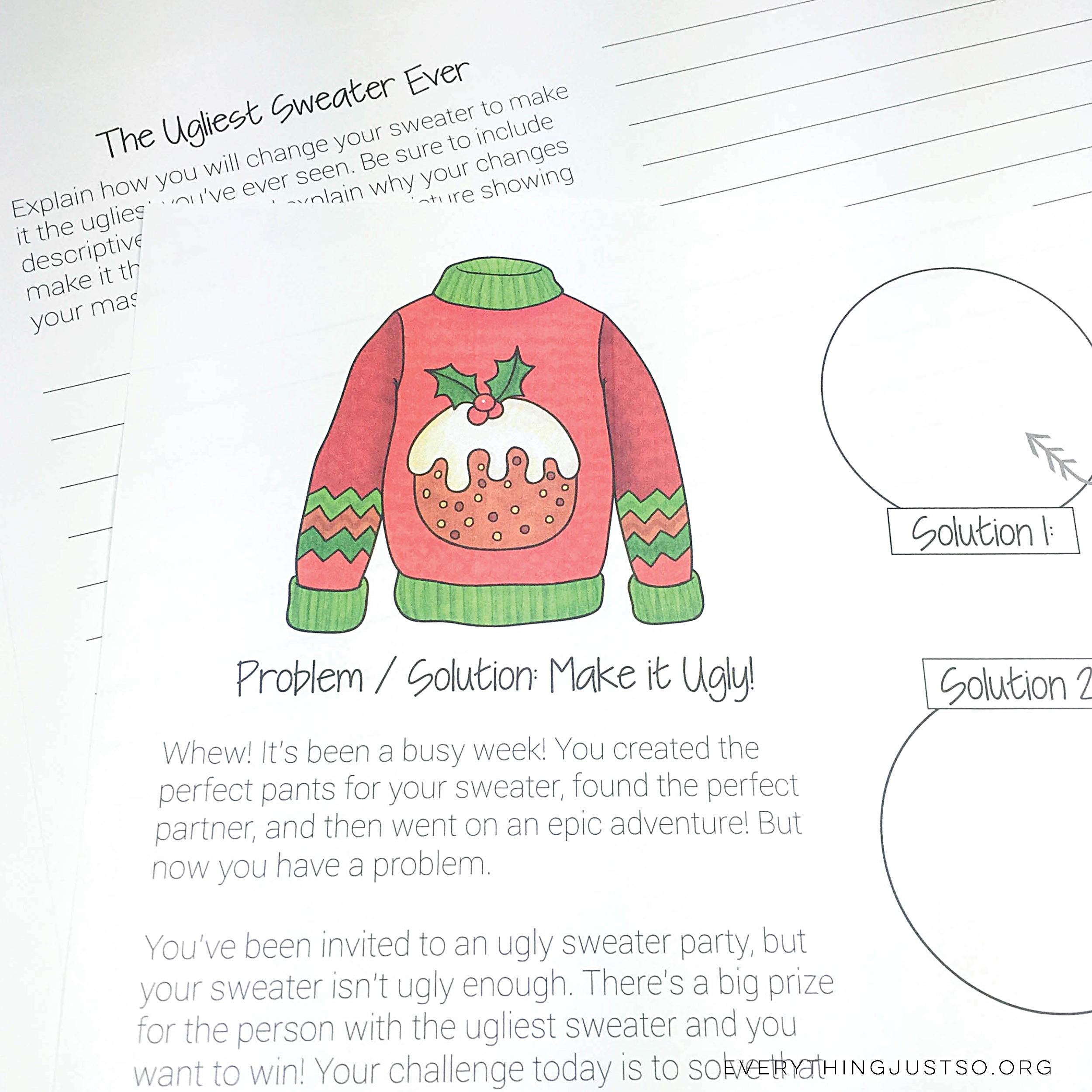 Ugly Christmas Sweater Writing Unit | everythingjustso.org