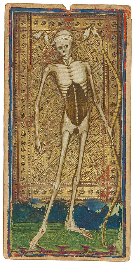 This is the Death Card from the Visconti-Sforza Tarot Deck, which is partially housed at the Morgan Library & Museum in NYC. Image courtesy Morgan Library & Museum.