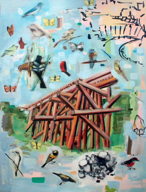 Trestle, Rock, Dam , oil on canvas , 48x36 inches , 2011.