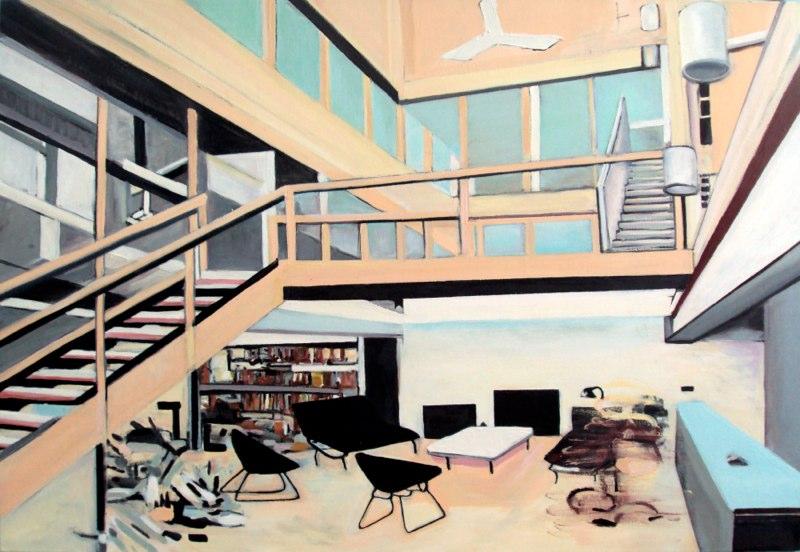 "Interior Neutra , oil on canvas, 48x60"", 2009-11."