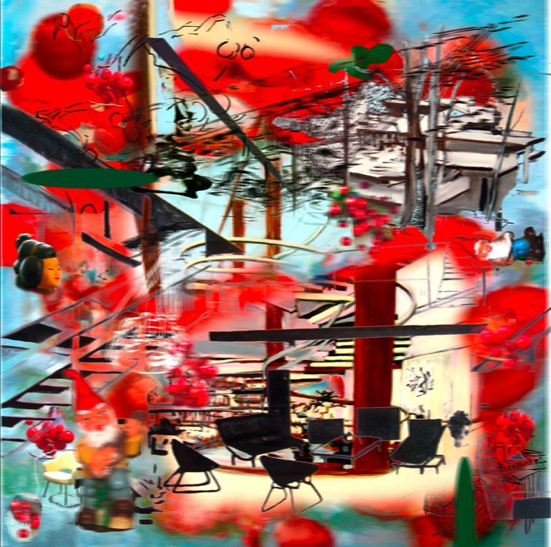 "Cherry Neutra , 3D lenticular Print, 24  x  24"""