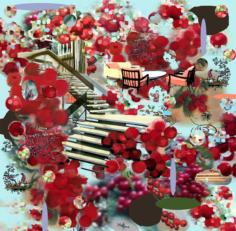 "Cherry Stairs III,  3D lenticular print,  24x24"",  2010."