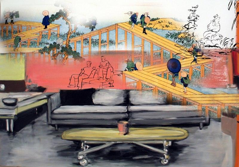"Sofa-Bridge , silver digital print,  14.5x21"", 2006."