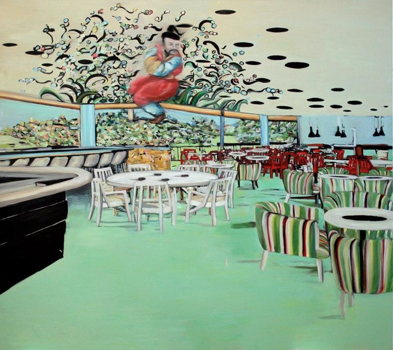 "Dining Room , oil on canvas, 66x70"", 2006. Courtesy Deborah Colton Gallery, Houston, TX."