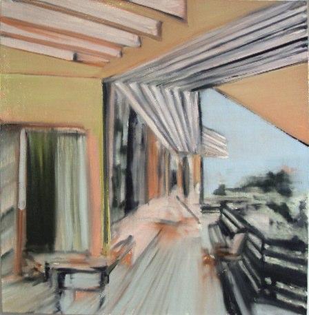 """Terrace (study), oil on canvas,  24x24"""", 2010."""