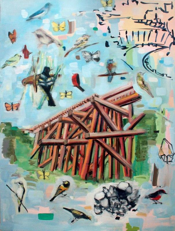 "Trestle Rock Dam , oil on canvas,  48x36"", 2011."