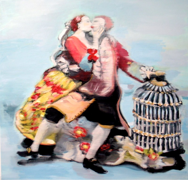 "Kissing by the Birdcage , oil on canvas,  30  x30"",  2005. Private Collection, Washington D.C."