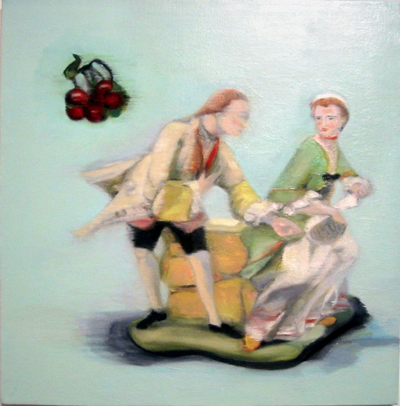 "May I Read That? , oil on canvas,  20x20"", 2004.  Private Collection, NY."