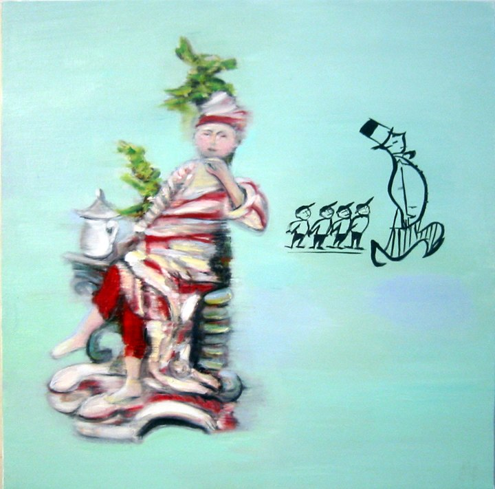 """Run Away , oil on canvas  20x20"""", 2004. Private Collection, NY."""